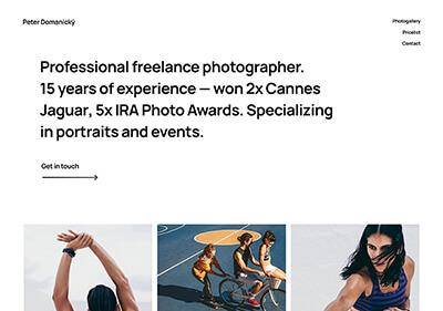 A website template for photographers